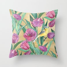 Blue Headed Wagtail in the Tulips Throw Pillow