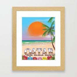 Qatar beach travel poster Framed Art Print