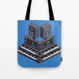 Electronic music altar — isometric pixel art Tote Bag