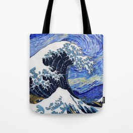 "Hokusai,""The Great Wave off Kanagawa"" + van Gogh,""Starry night"" Tote Bag"