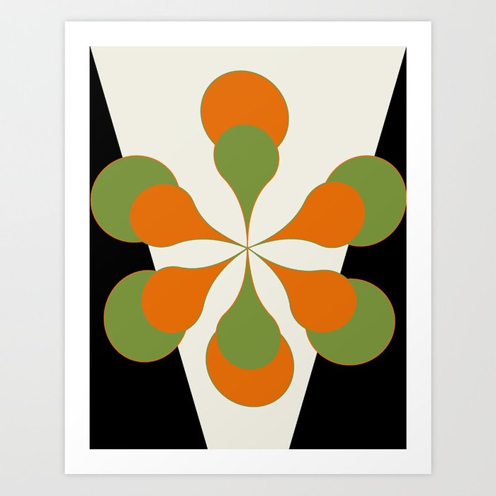 Mid-Century Modern Art 1.4 - Green & Orange Flower Kunstdrucke