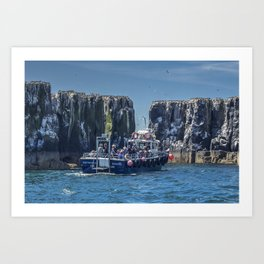 Passengers on board a boat at the farne Islands, Northumberland Art Print