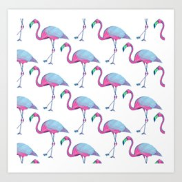 Pink Flamingos with blue wings Art Print