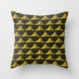 Paper Hats Pattern | Dark Yellow Throw Pillow