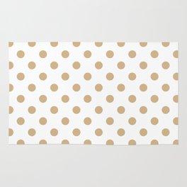 Small Polka Dots - Tan Brown on White Rug