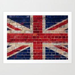 UK flag on a brick wall Art Print