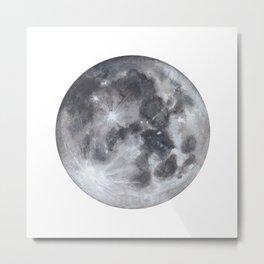 Full Moon Watercolour Metal Print