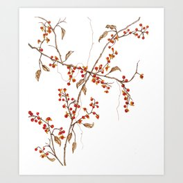 Of red and leaves Art Print
