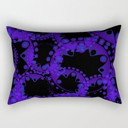 Abstract pattern of purple tentacles and bubbles on a black background. Rectangular Pillow