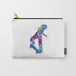 Girl Skateboard Colorful Watercolor Sports Art Carry-All Pouch