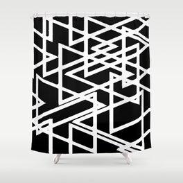 Interlocking White Triangles Artistic Design Shower Curtain