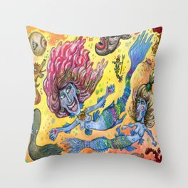 Blue-Finned Mermaids watercolor Throw Pillow
