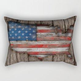American Wood Flag Rectangular Pillow