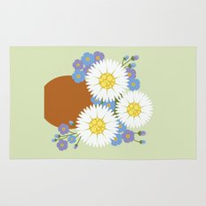 Vase of Daisies and Forget me not Rug