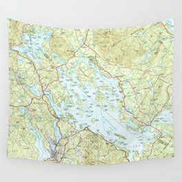 Lake Winnipesaukee Map (1986) Wall Tapestry