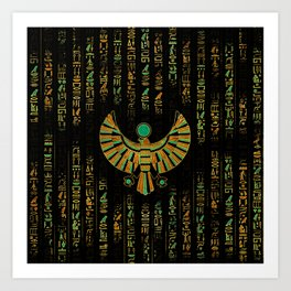 Egyptian Horus Falcon gold and color crystal Art Print