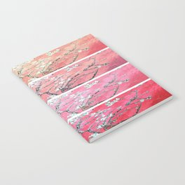 Van Gogh Almond Blossoms Deep Pink to Peach Collage Notebook