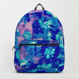 blooming blue flower abstract with pink background Backpack