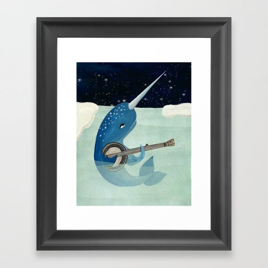 Narwhal's Aquarelle - Narwhal Plays Banjo Framed Art Print