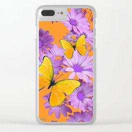 Red-Orange Yellow Butterflies Lilac Color Purple Daisies Clear iPhone Case