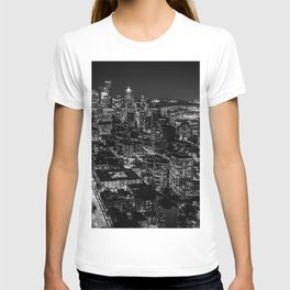 Seattle from the Space Needle in Black and White T-shirt