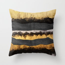 Golden Ocean Waves #1 #abstract #painting #decor #art #society6 Throw Pillow