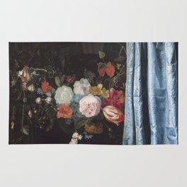 Adriaen van der Spelt Trompe-l'Oeil- Still Life with a Flower Garland and a Curtain Rug