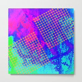 Polka dots on vibrant abstract background Metal Print