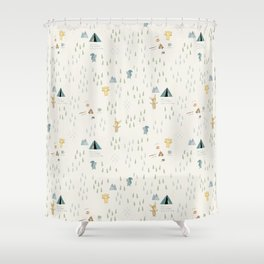 Camping with friends - Bear, Moose & Squirrel Shower Curtain