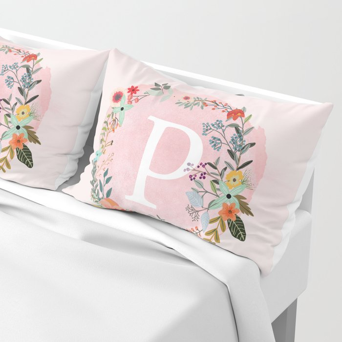 Flower Wreath with Personalized Monogram Initial Letter P on Pink Watercolor Paper Texture Artwork Pillow Sham