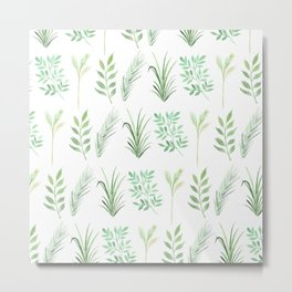 Bouquet of branches and leaves pattern, transparent background Metal Print