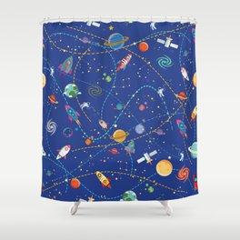 Space Rocket Pattern Shower Curtain