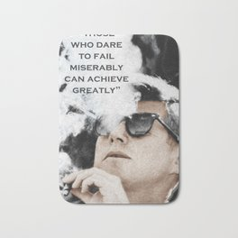 John F Kennedy Cigar and Sunglasses 3 And Quote Bath Mat