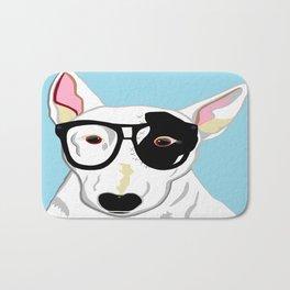 Hipster Bull Terrier Bath Mat