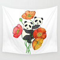 pandas Wall Tapestries featuring Poppies & Pandas by micklyn