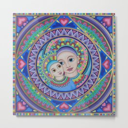 Mother and Child Mandala Metal Print