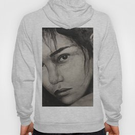 Graphic art, painting coal portrait pretty girl Hoody
