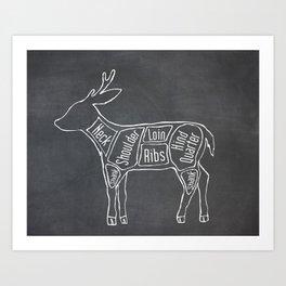 Venison Butcher Diagram (Deer Meat Chart) Art Print