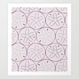 Sanddollar Pattern in Purple Art Print