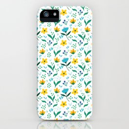 Summer flowers in yellow and blue in white background iPhone Case