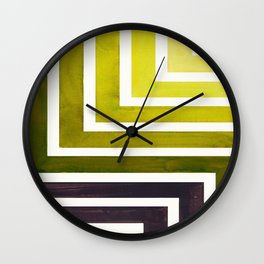 Olive Green Mid Century Modern Watercolor Colorful Ancient Aztec Art Pattern Minimalist Geometric Pa Wall Clock