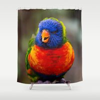parrot Shower Curtains featuring Parrot by Veronika