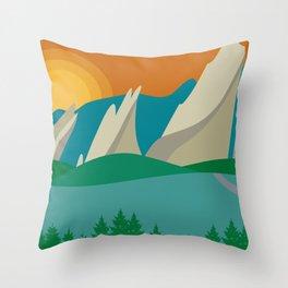 Boulder, Colorado - Skyline Illustration by Loose Petals Throw Pillow