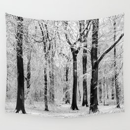 Snowy Beech Trees Wall Tapestry
