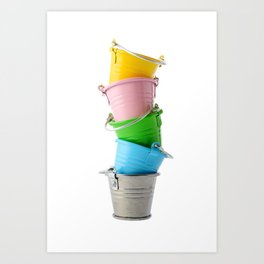 Colorful buckets, stacked vertically Art Print