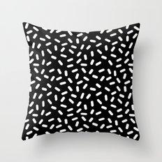 Bingo - black and white sprinkle retro modern pattern print monochromatic trendy hipster 80s style Throw Pillow