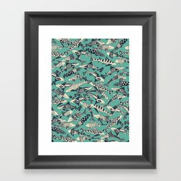 shark party jade Framed Art Print