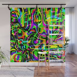 Explosive doodle in neon colors with a green tint. Wall Mural