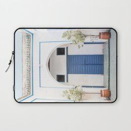 The Blue Door In Marrakech Photo | White Bahia Palace Morocco Art Print | Color Travel Photography Laptop Sleeve