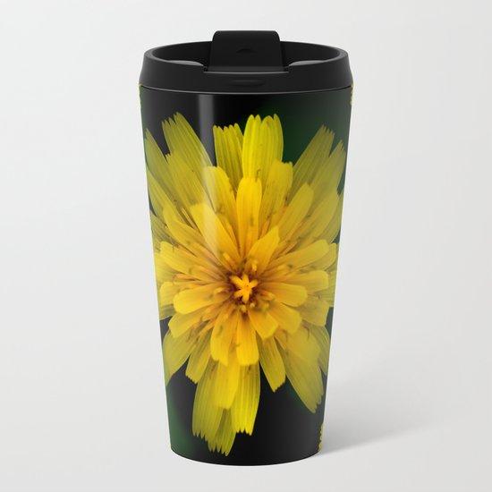 Yellow Natural Flowers On Black Background Metal Travel Mug